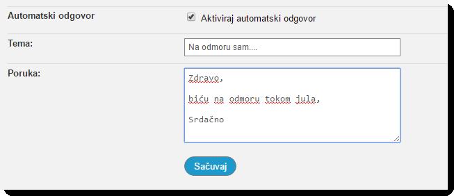 Automatski e-mail odgovor Loopia mail
