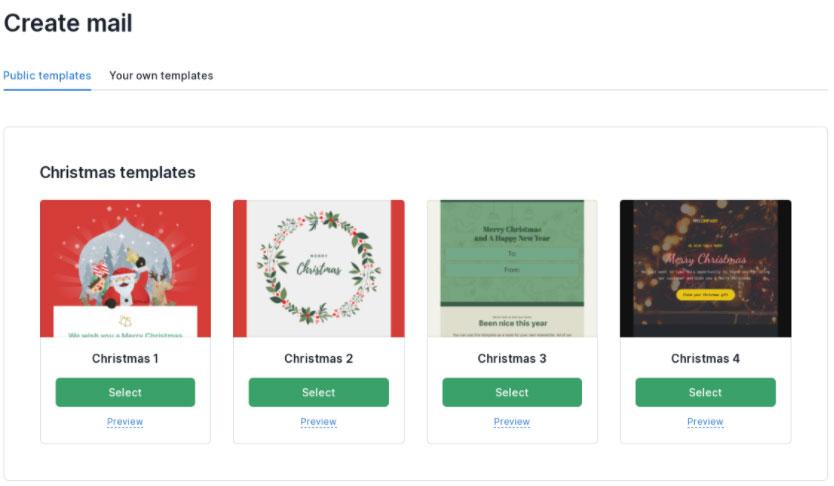 Šabloni za Božićni email