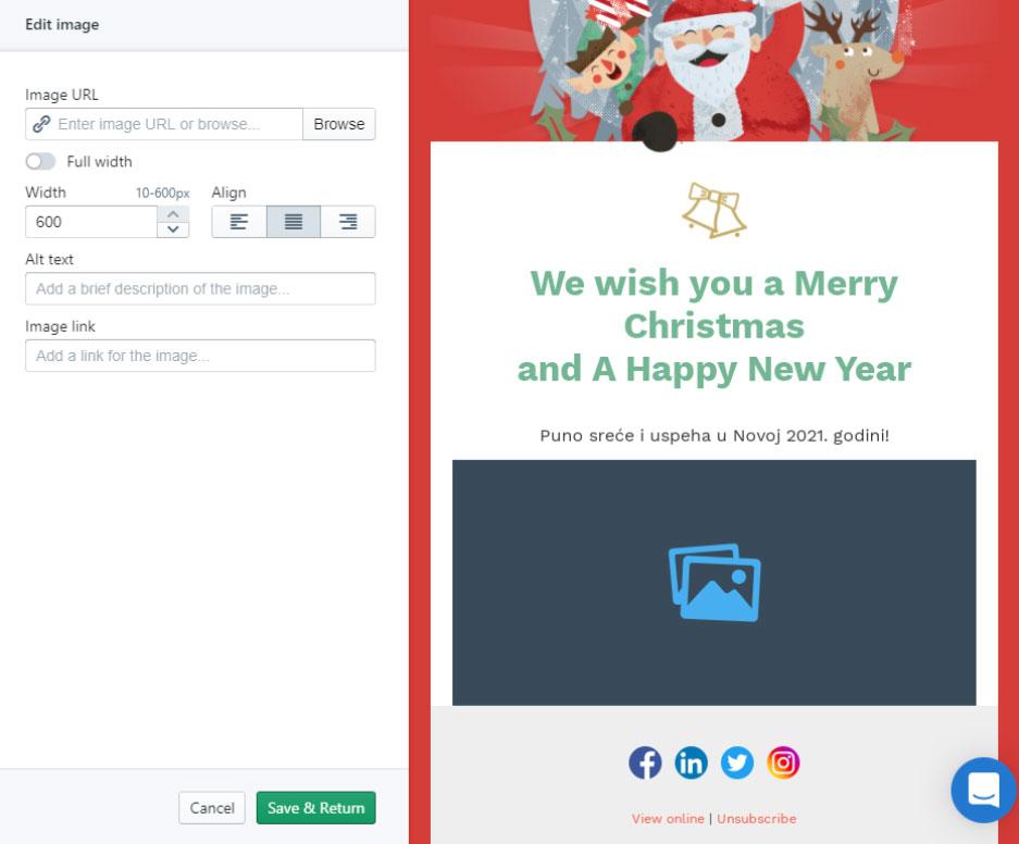 Dodavanje slika u Božićnu email čestitku